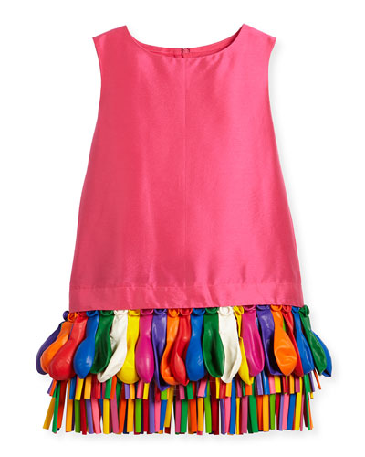 Ida Sleeveless Taffeta Shift Dress w/ Balloons, Fuchsia, Size 5-8