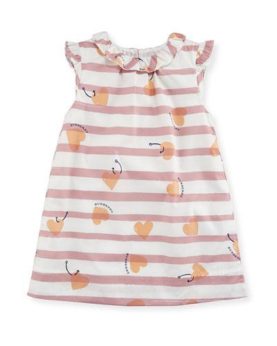 Alysa Sleeveless Striped Poplin Shift Dress, Pink, Size 12 Months