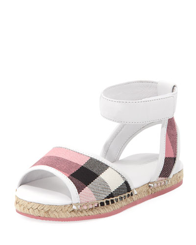 Check Open-Toe Sandal, Blush, Toddler Sizes 7-10