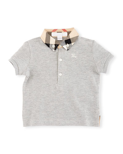 Mini William Check-Collar Pique Polo Shirt, Gray, Size 6M-3
