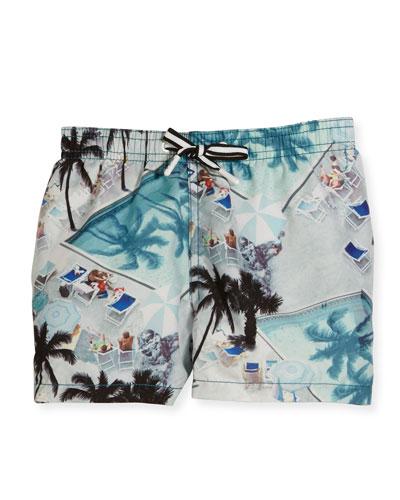 Niko Swimming Pools Board Shorts, Blue, Size 2T - 12