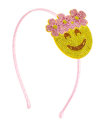 Girls' Floral Halo Emoji Headband, Yellow