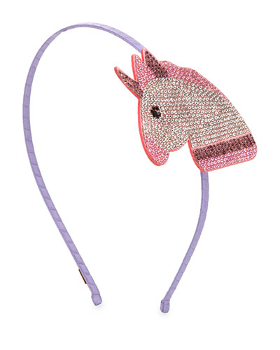 Girls' Crystal Unicorn Emoji Headband, Pink/White