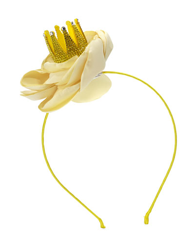 Girls' Bella Crystal Crown Floral Headband, Yellow