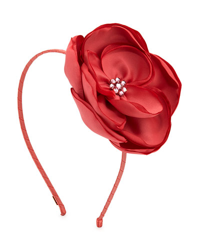 Girls' Silk Flower Headband, Coral