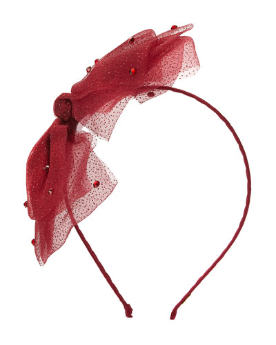Girls' Mesh Rhinestone Bow Headband, Burgundy