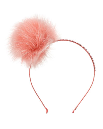 Girls' Rhinestone & Fox Fur Pompom Headband, Coral