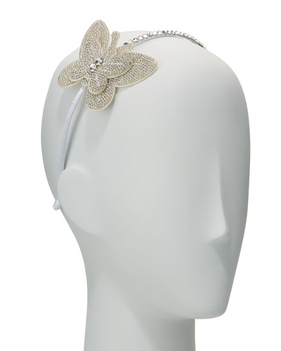 Girls' Rhinestone Butterfly Headband, White