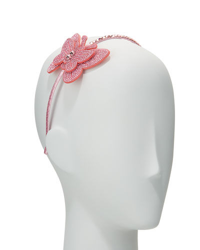 Girls' Rhinestone Butterfly Headband, Light Pink