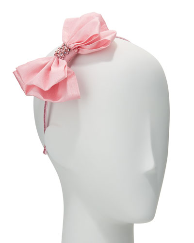 Girls' Taffeta Bow Headband, Light Pink