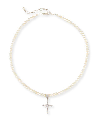 Girls' Pearl Necklace w/ Silver Cross