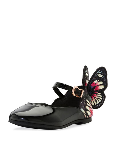 Chiara Butterfly-Wing Flat, Black Pattern, Toddler/Youth Sizes 5T-2Y