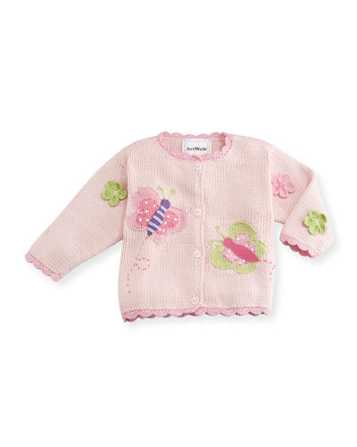 Butterflies Cotton Button-Front Sweater, Pink, Size 12-24 Months