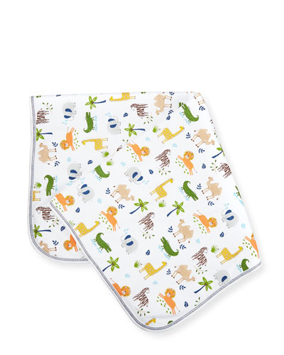 Jungle Jaunt Pima Blanket, Navy/White