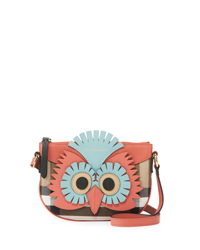 Girls' Coca Owl Check Canvas Crossbody Bag