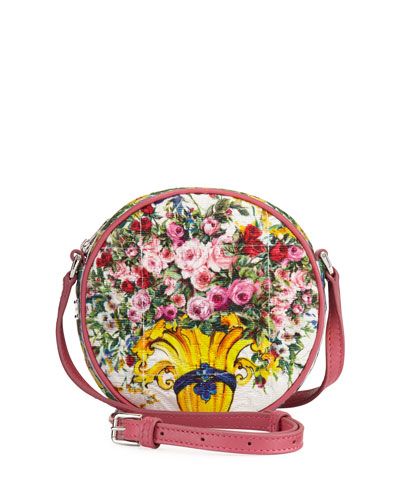 Girls' Floral Vase Round Crossbody Bag, Pink Pattern