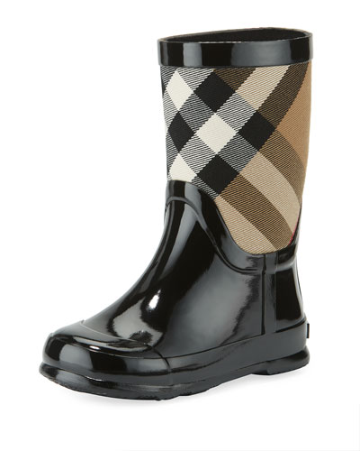 Rainmoor Check Rubber Rainboot, Black, Toddler Sizes
