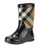 Rainmoor Check Rubber Rainboot, Black, Toddler/Youth Sizes 10T-2Y