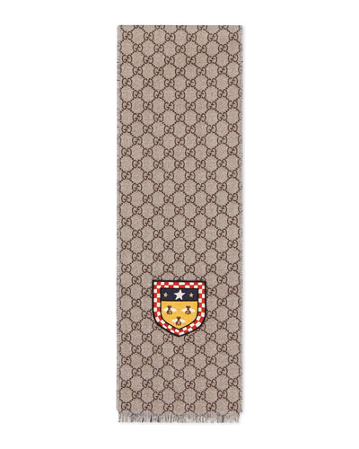 Girls' GG Supreme Bee Patch Wool Scarf