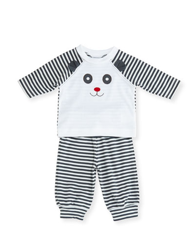 Striped Knit Panda Bear Top w/ Pants, Size 3-12 Months