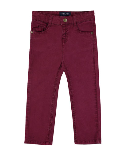 5-Pocket Twill Trousers, Wine, Size 3-7