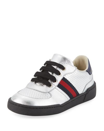 Metallic Leather Sneaker, Toddler
