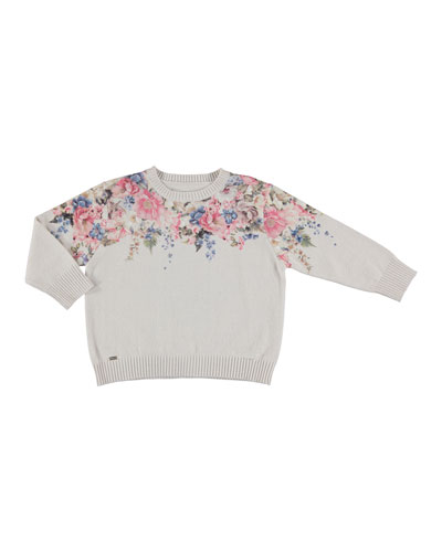 Floral-Print Sweater, Beige, Size 5-16