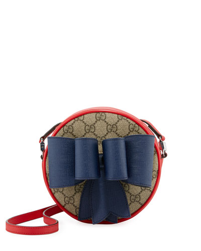 Kids' GG Supreme Canvas Crossbody Bag w/ Bow Detail