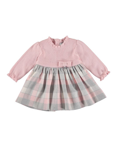 Knit Plaid Dress, Rose, Size 6-36 Months