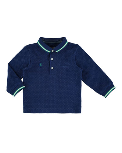 Pin Dot-Print Polo Shirt, Navy, Size 6-36 Months