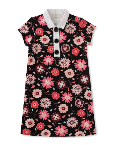 girls' floral-print collared shift dress, size 7-14