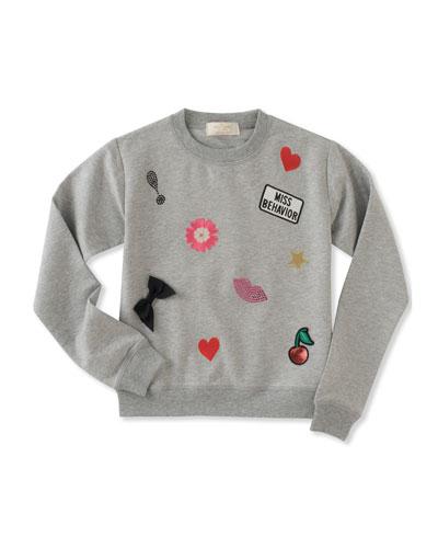 girls' patched sweatshirt, size 7-14