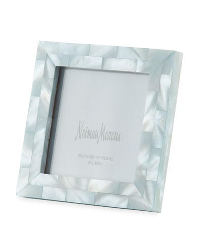 Mother-of-Pearl Picture Frame, Blue, 3.5