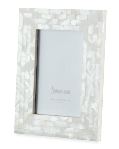 Mother-of-Pearl Picture Frame, White, 4