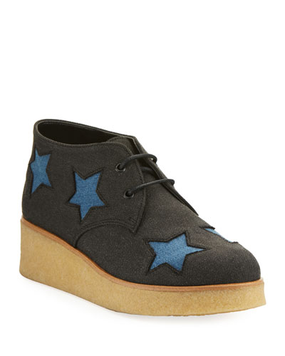 Wendy Star-Patched Denim Platform Sneaker, Toddler/Youth Sizes 10T-5Y