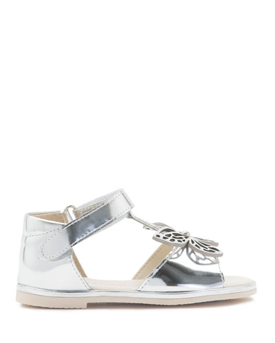 Flutterby Metallic Leather T-Strap Flat Sandal, Silver, Toddler/Youth Sizes ...