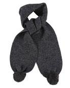 Kids' Knit Scarf w/ Pompoms