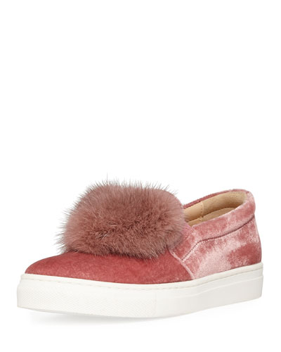 Fur Heart Slip-On Velvet Sneaker, Toddler/Youth Sizes 11T-2Y