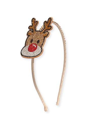 Girls' Crystal Reindeer Headband