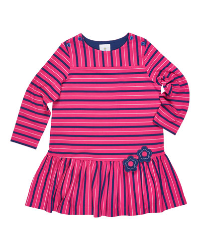 Stripe Button-Shoulder Dress w/ Flower Detail, Size 2-6X