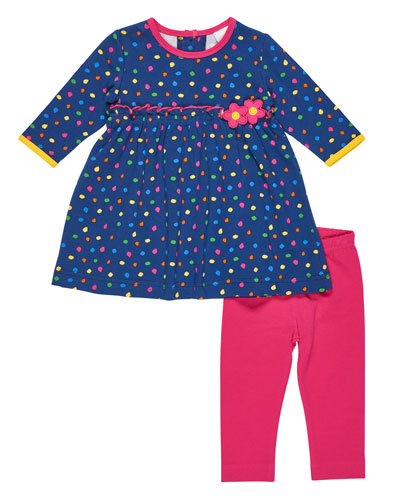 Long-Sleeve Polka-Dot Top w/ Leggings, Size 3-24 Months