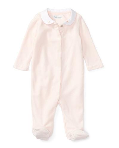 Ralph Lauren Childrenswear Velour Footie Pajamas w /  Flower Embroidery, White, Size Newborn - 9 Months