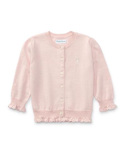 Knit Logo Cardigan w/ Crochet Trim, Size 9-24 Months