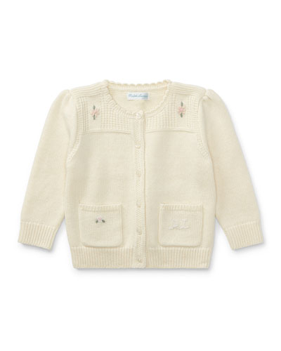 Wool-Blend Flower Embroidered Cardigan, Size 9-24 Months