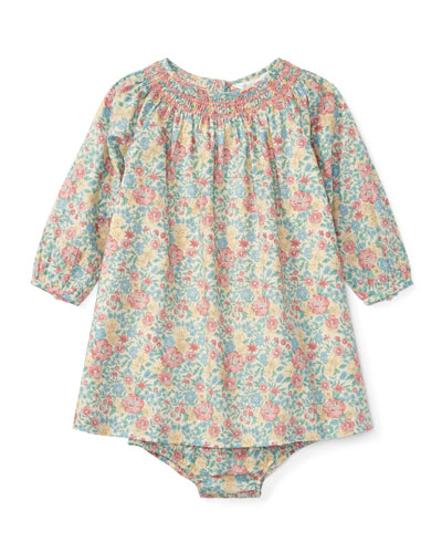 Floral-Print Dress w/ Bloomers, Size 9-24 Months
