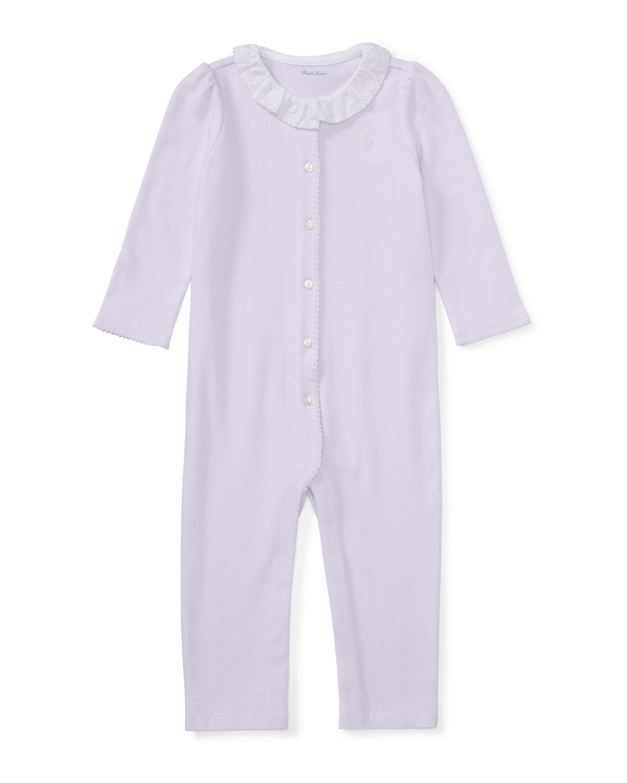Ralph Lauren Childrenswear Ruffle - Collar Cotton Coverall, Size Newborn - 9 Months