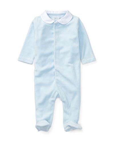 Ralph Lauren Childrenswear Velour Coverall, Size Newborn - 9 Months
