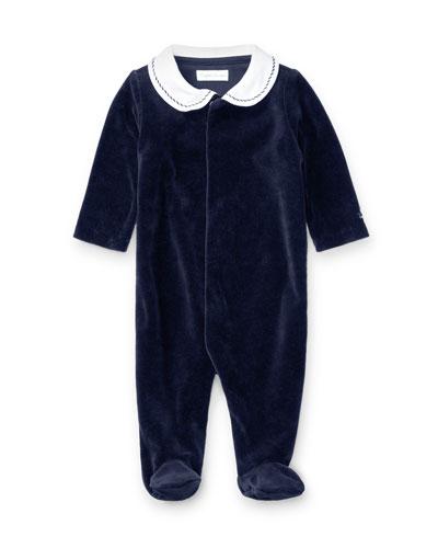 Ralph Lauren Childrenswear Two - Tone Velour Footie Pajamas, Navy, Size Newborn - 9 Months