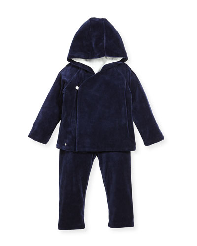 Velour Hooded Jacket & Pants, Navy, Size 9-24 Months