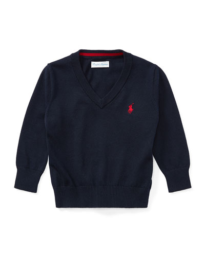 Long-Sleeve V-Neck Knit Sweater, Navy, Size 9-24 Months